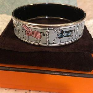 Hermes Horse Enamel Bangle Bracelet